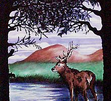 Out of the Forest I `Red Stag' by sharpie