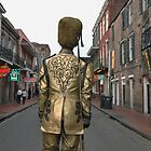 Living statue guarding Bourbon Street-New Orleans by milton ginos