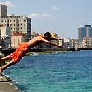 Locals diving off the Malecon, Havana, Cuba by buttonpresser