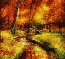 Autumn - By a little bridge - Painting by Mike  Savad