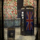 a booth a bin and liberty flowers by Sonia de Macedo-Stewart