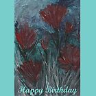 BIRTHDAY CARD (ENCAUSTIC FLORAL) by Rosetta Jallow