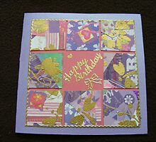 Mauve 9 square collage card by Gortsmum