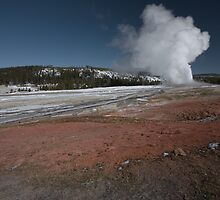 Old Faithful Explodes - Yellowstone NP by Adam Smith