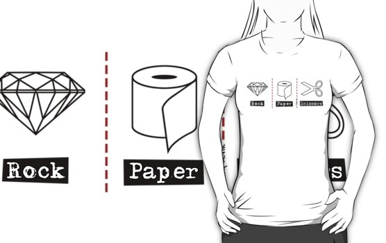 Rock Paper Scissors T-Shirt by TsipiLevin