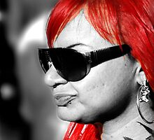 Red hair on black and white by Bigart32