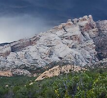 Split Mountain Storm Panorama by Kim Barton