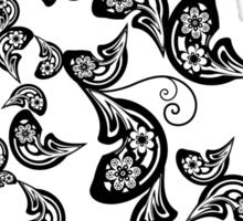 Elegant Vintage Black Boho Floral Paisley Peacock Sticker