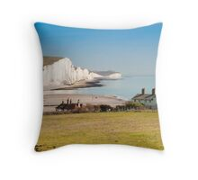 Seven Sisters from Cuckmere Haven: East Sussex. UK. Throw Pillow