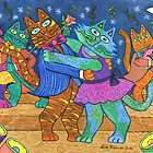 'Cracked Cats' Go Dancing by Lisa Frances Judd ~ QuirkyHappyArt