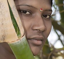 Village Beauty Behind Green Bamboo by Mukesh Srivastava