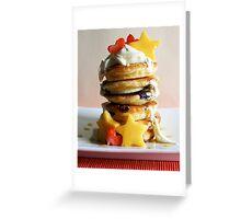 Mini Blueberry Pancakes with Mango Stars & Strawberry Hearts Greeting Card
