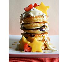 Mini Blueberry Pancakes with Mango Stars & Strawberry Hearts Photographic Print