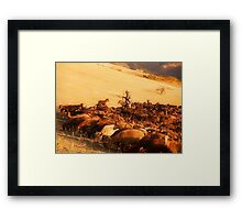 A Goatherd walking his flock through the Andalucian countryside Framed Print