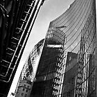 Lloyds & Gherkin in Black and White by Jonathan Doherty