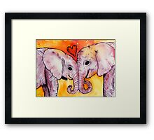 Elephants in Love Framed Print