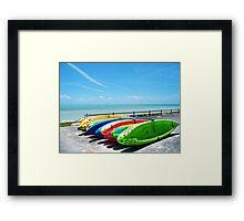 Key West Florida Aquamarine Blue Kayaks primary colors Framed Print