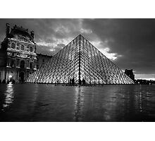 black and white louvre pyramid Photographic Print