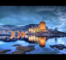 Eilean Donan Castle at Night (Bordered) by Chad Kruger