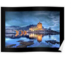 Eilean Donan Castle at Night (Bordered) Poster