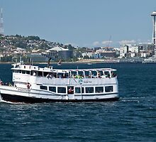 A sightseeing boat on Elliott Bay, Seattle, WA by Barb White