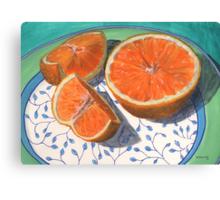 Sweet, sliced, homegrown orange Canvas Print