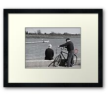 Friends Chatting by the sea Framed Print
