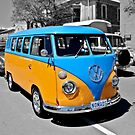 Volkswagen Kombi van in blue and orange. by Ferenghi