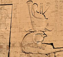Hieroglyphs at Edfu temple in Egypt by rhallam