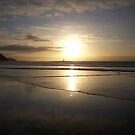 Sunset on Perranporth Beach by gillbee