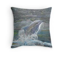 Dolphin Leap for the Moon Throw Pillow