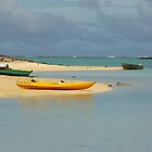 Yellow Kayak in Blue Lagoon by Lucinda Walter