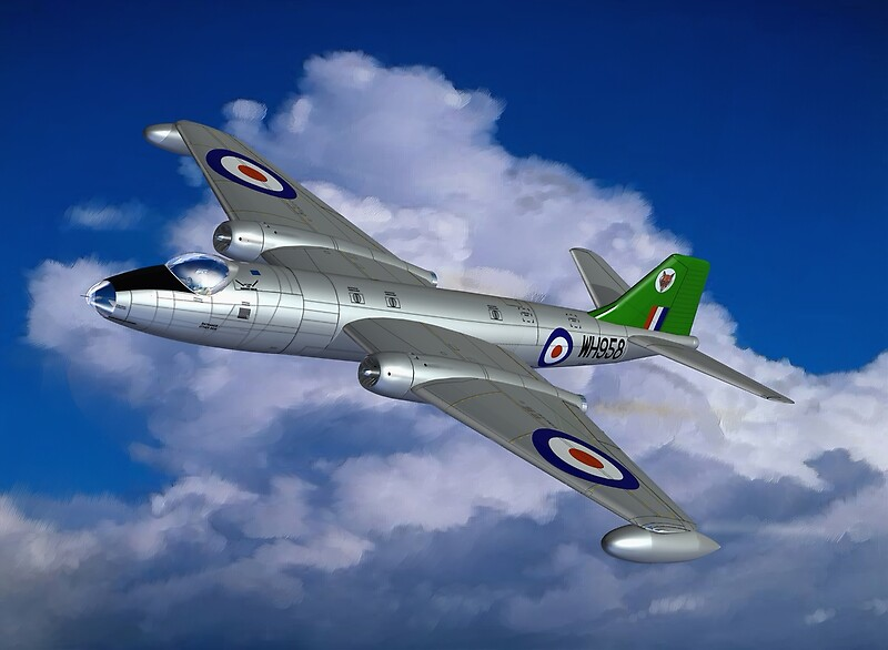 "In Her Pomp: English Electric Canberra B6 aircraft painting"" by ...: www.redbubble.com/people/coldwarwarrior/works/5012122-in-her-pomp..."