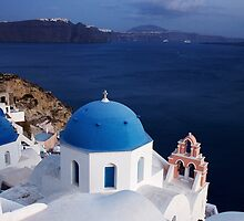 Santorini Churches by pixeljunkie19