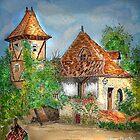 Watercolour.                         Balade en Quercy , Perigord.  by Irene  Burdell