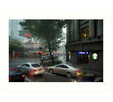 Streets of Singapore city under the rain Art Print