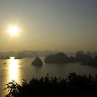 Begin of sunset in the Halong Bay by shkyo30