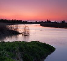 Volcanic Ash Affected Sunset over the River Parrett by kernuak