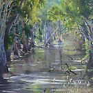 """Sunlit Billabong - Brick Kiln Creek, Deniliquin"" by louisegreen"