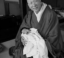 With baby  , Zen Monk   Kyoto  JAPAN by yoshiaki nagashima