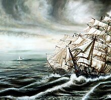 Tea Clippers full sail raceing off the china sea by james thomas richardson