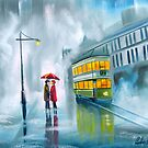 SAYING GOODBYE rainy day umbrella painting by gordonbruce