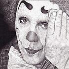 Clown, Ink Drawing by RIYAZ POCKETWALA