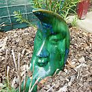 Mr. Moon -  Green Glass Garden Ornament by EdsMum