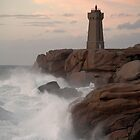 Lighthouse at St Guirec Brittany France by Anthony Collins
