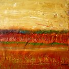 Fall colors at the end of the day, mixed media on board by Sandrine Pelissier