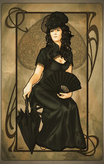 Poker Art Nouveau: 'Queen of Spades' by ArtNouveau