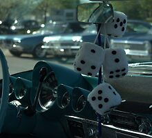 """""""Fuzzy Dice"""" hanging from the car mirror. by TeeMack"""