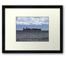 Container Ship off Cordova Bay Framed Print