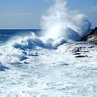 Big Wave Breaking onto Rocky Coastline by Paul Mayall
